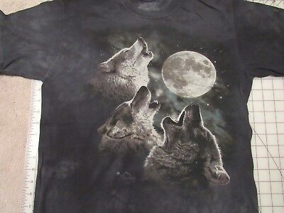 THE MOUNTAIN Wolves Howling T-SHIRT Mens SMALL Wolf Pack At Full Moon Night Sky