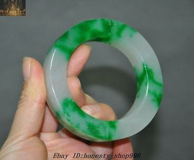 Chinese Natural Emerald Green Jade Jadeite Hand Carved Exquisite bracelet bangle