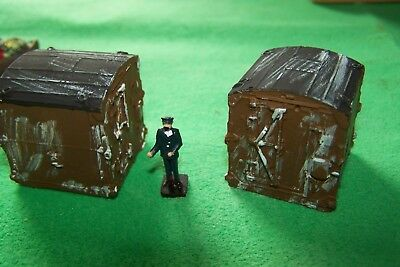 oo gauge pair of old railway conflats containers.