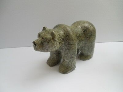 """Vintage Beautiful Inuit Heavy Green Bear 9 1/4"""" X 4"""" + X 9Lbs + Excellent"""