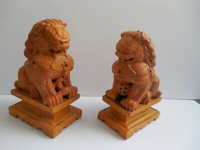 """Pair of Yellow Hand Carved Stone Foo Dog Foo Lions Temple Guardian Statues 9""""x6"""""""