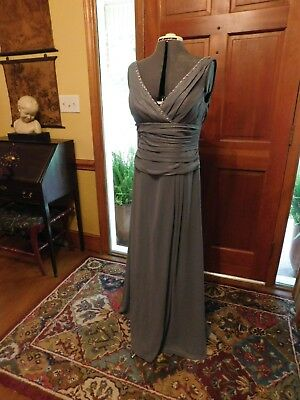 Beautiful Metallic Gray Mother Of The Bride/groom Or Formal Occasion Gown Sz 10