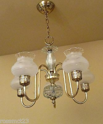 Vintage Lighting Antique Mid Century 1950s Colonial brass chandelier