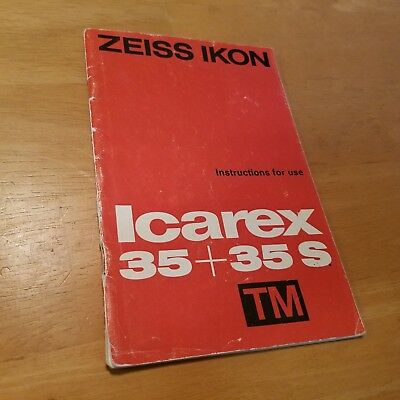 Xeiss IKON Icarex 35 35S Instruction Book Manual