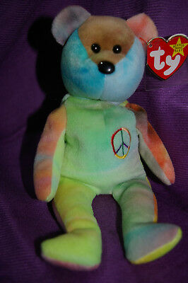 Ty Beanie Peace Bear Indonesian Solid Green Bright with Interesting Face