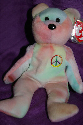Ty Beanie Peace Bear Indonesian Pastel Blue and Pink