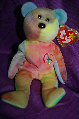 Ty Beanie Bear Peace Indonesian Solid Pink Bright