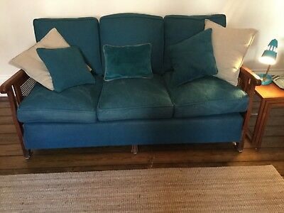 Vintage Early 20th Century Bergere Sofa- Teal Cotton Upholstery.