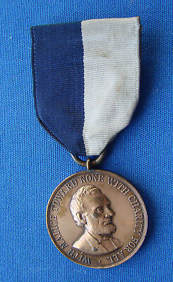 *very Nice Original Civil War Medal Abraham Lincoln With Numbered Rim 775*