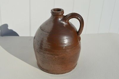 Antique/primitive Small American New England Glazed Redware Pottery Whiskey Jug