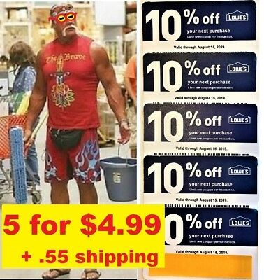 5 Lowes 10% off Coupons Good Only at Home Depot & Competitors - Expire 8/15/2019