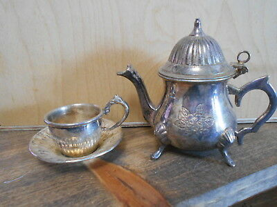 Vintage Mini Silver Plated Tea Pot & Cup With Attached Saucer