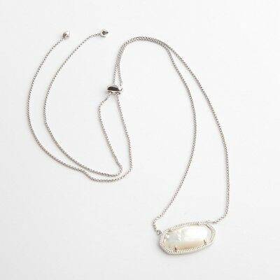 Authentic Kendra Scott Delaney Silver Pendant Necklace In Ivory Pearl