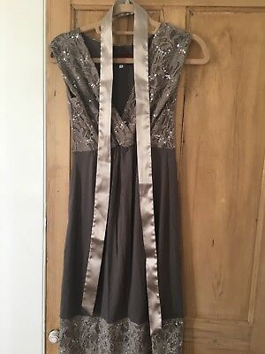 Tiffany Rose maternity lace occasion dress pewter Taupe size 1 With Satin Sash