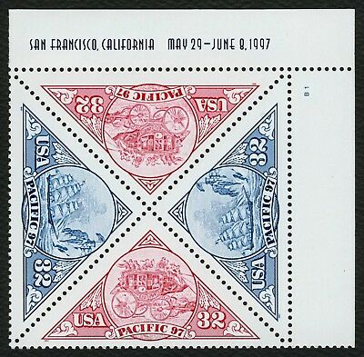 #3131a 32c Pacific '97, Plate Block [B1 UR], Mint ANY 4=
