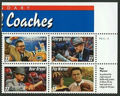 #3146a 32c Football Coaches, Plate Blk [P22222 UR], Mint ANY 4=