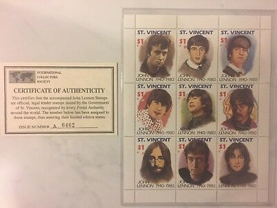 John Lennon Stamp Stamps Sheet  - St. Vincent w/ Certificate of Authenticity