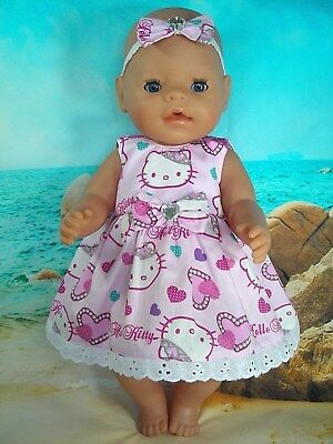 """Dolls clothes for 17"""" Baby Born doll~PINK PRINCESS DIAMONTE HELLO KITTY DRESS"""