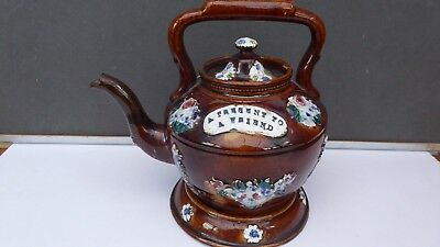 Genuine Antique Victorian Measham Bargeware Kettle and Stand c1890