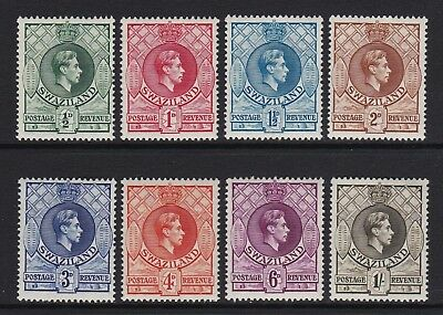 Swaziland 1938 set of 8 to 1s (Perf 13 1/2 x 13) - fresh mounted mint £90