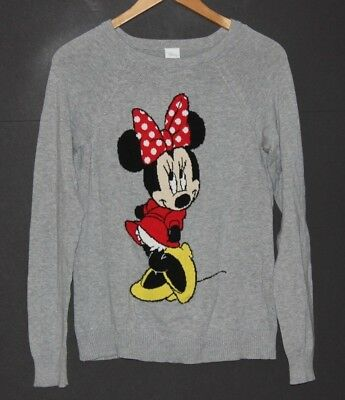 Disney Womens Minnie Mouse Sweater Gray Cotton Pullover Sz S Small