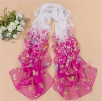 2019 Fashion Women's Lady Chiffon Butterfly Floral Scarf Soft Wrap Long Shawl-A