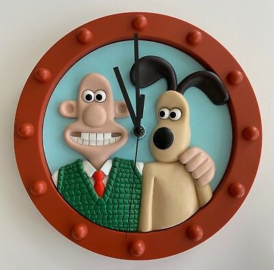 Wallace and Gromit 3D Wall Clock 1997 WESCO Used Excellent Condition