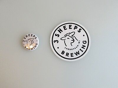 Lot #108 3 Sheeps Brewing Sheboygan, WI Pinback And Decal New Condition