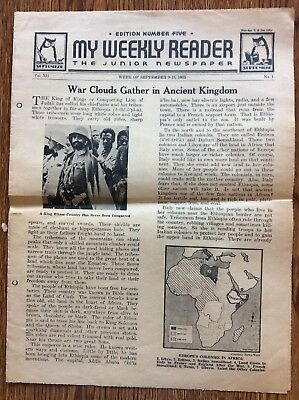 My Weekly Reader 1935 No. 1 Walt Disney Mickey Mouse Visit Great Britain Punch