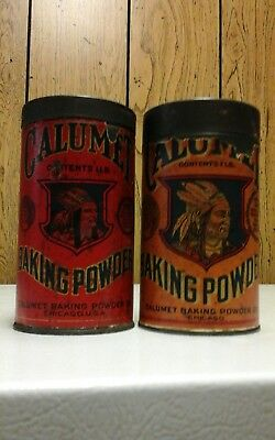 2 different 1# calumet baking powder cans with indian chief
