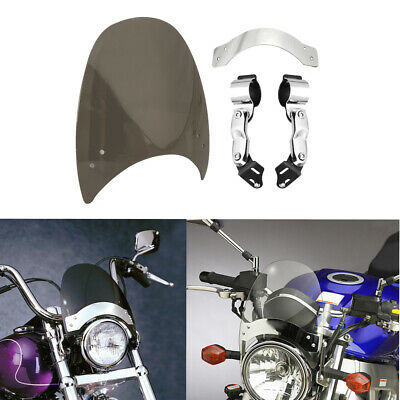 Smoked Windshield with Hardware Universal For Harley Honda Motorcycle US Stock