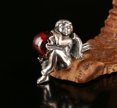 925 Silver Pendant Statue Old Handmade Angel Baby Mascot Limited Edition Gift