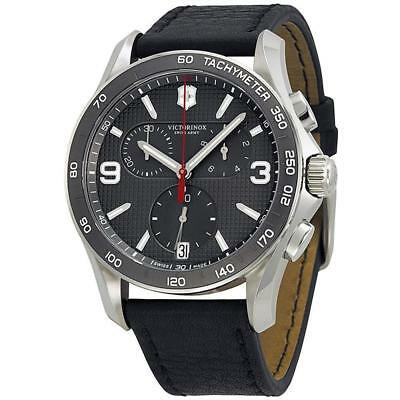 Swiss Army Victorinox Classic Leather Chronograph Mens Watch 241657 NWT $625