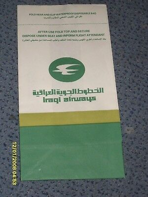 Kotztüte  Air Sickness bag Spuckbeutel Iraqi Airways
