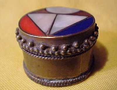 Small Interesting Old Vintage Circular Box Mosaic Lid Tight Fitting Beaded Edge