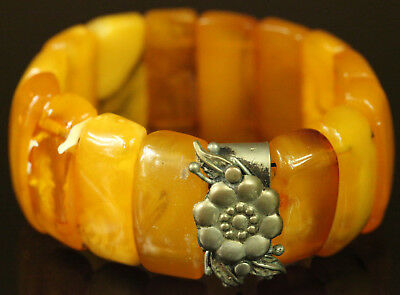 Natural OLD Antique 30.2g Butterscotch Egg Yolk Baltic Amber Stone Bracelet B448