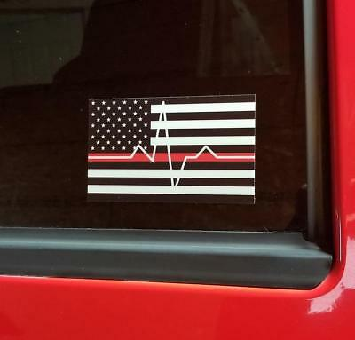 Reflective American Flag Thin Red Line EMS Fire - Paramedic