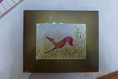 "New original water color of stretching greyhound on thick card stock 7"" x 5"""