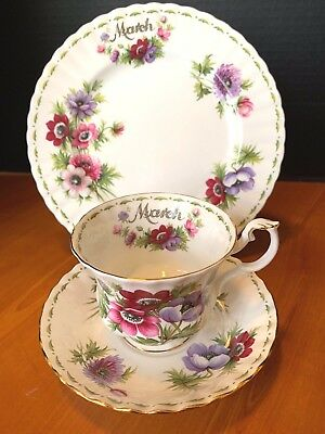 Royal Albert Flower of the Month Teacup saucer lunch plate EUC March Anemones