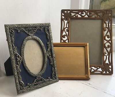 Lot Vintage Small Ornate Metal Glazed Table Top Picture Photo Frames X 3