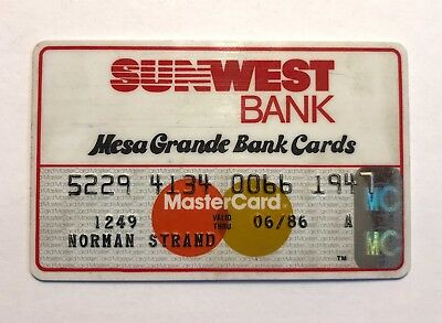Sunwest Bank / Mesa Grande Mastercard Credit Card, Expiration 6/86, unsigned