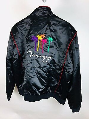 Vintage Las Vegas Hotel Casino Satin Jacket Golden Nugget Mirage Reversible XL