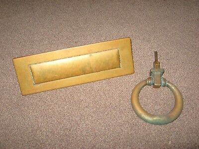 Antique Door Furniture Solid Brass Knocker & Yale Letter Box - Reclaimation