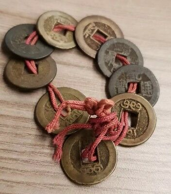 9 Antique Chinese Cash Coins on String Vintage holed currency