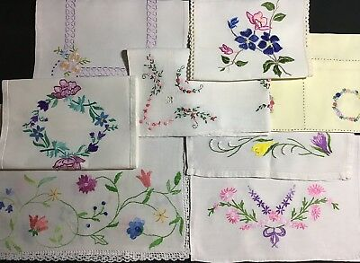 Collection 8 Beautiful Vintage Linen Hand Embroidered Tray Cloths/table Centres