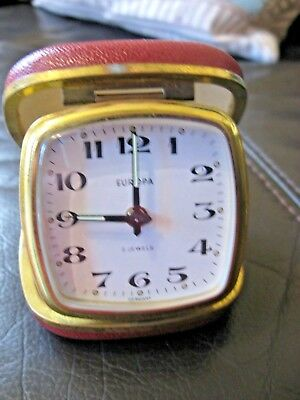 Vintage Europa Travel Alarm Clock 2 Jewels Germany Red Case Working - Retro