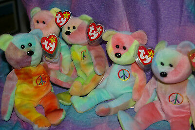 Ty Beanie Baby Teddy Bear Joblot Bundle of 5, Made in China, Solids and Flame