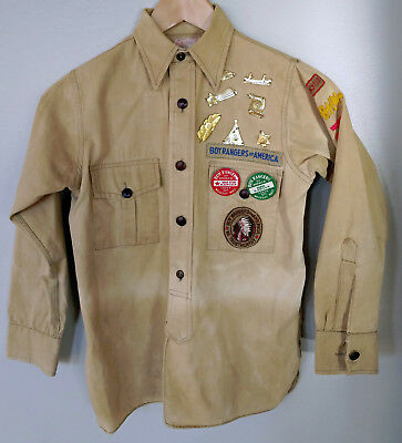 Orig BOY RANGERS OF AMERICA UNIFORM SHIRT Gold Badges Patches Insignia boy scout