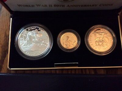 1991-1995 World War II 50th Anniversary Gold & Silver 3 Coin Proof Set Box/COA