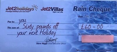 20 x latest New Jet2Holidays £60 Rain Cheque voucher Valid until March 2020!!